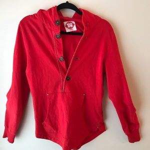 Free People Hello To You Red Button Up Hoodie Sz M